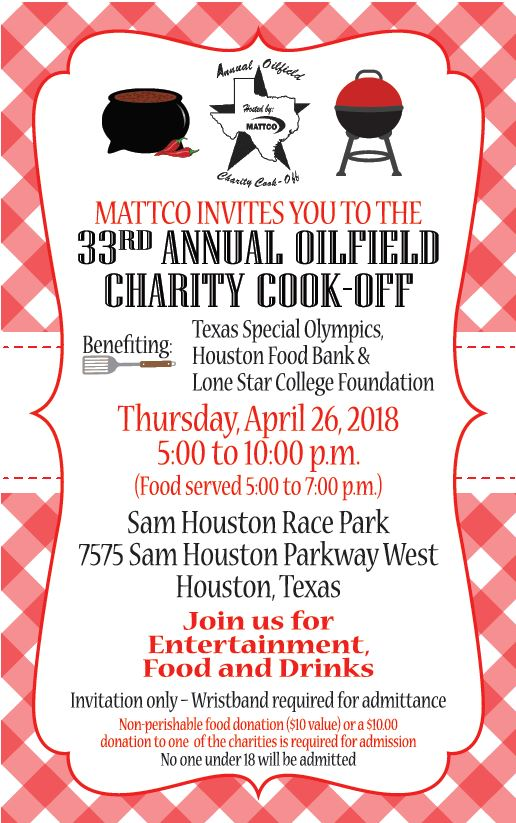 33rd Annual Oilfield Charity Cook-off